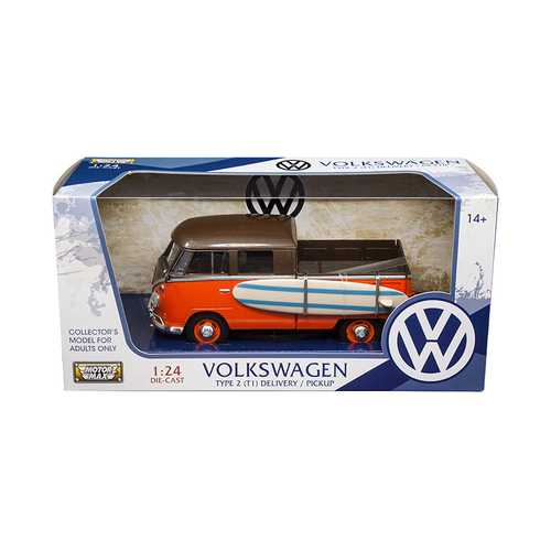 Volkswagen Type 2 (T1) Pickup with Surfboard Brown/Orange 1/24 Diecast Model Car by Motormax