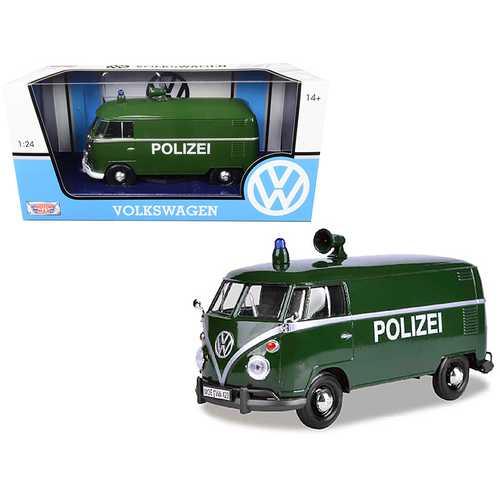 """Volkswagen Type 2 (T1) Police Van """"Polizei"""" Dark Green 1/24 Diecast Model Car by Motormax"""