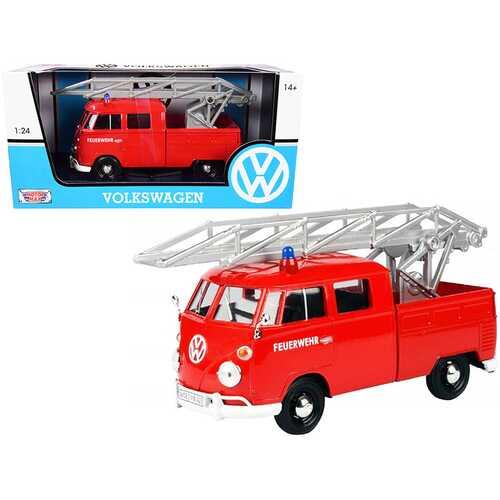 "Volkswagen Type 2 (T1) Fire Truck with Aerial Ladder ""Feuerwehr"" Red 1/24 Diecast Model Car by Motormax"