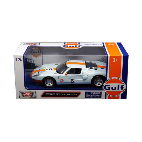"Ford GT Concept #6 with ""Gulf"" Livery Light Blue with Orange Stripe 1/24 Diecast Model Car by Motormax"