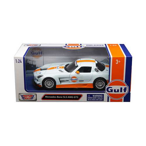 """Mercedes Benz SLS AMG GT3 with """"Gulf"""" Livery Light Blue with Orange Stripe 1/24 Diecast Model Car by Motormax"""