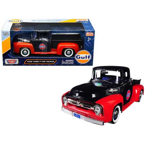 """1956 Ford F-100 Pickup Truck """"Gulf"""" Dark Blue and Red 1/24 Diecast Model Car by Motormax"""