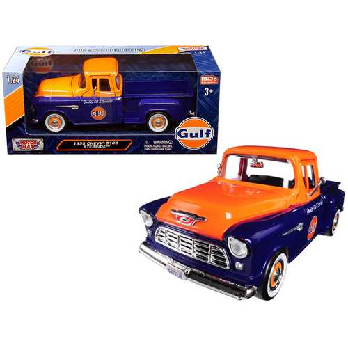 "1955 Chevrolet 5100 Stepside Pickup Truck ""Gulf"" Dark Blue and Orange 1/24 Diecast Model Car by Motormax"