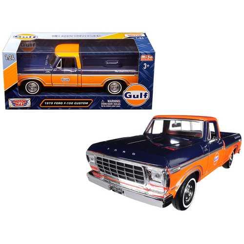"1979 Ford F-150 Custom Pickup Truck ""Gulf"" Dark Blue and Orange 1/24 Diecast Model Car by Motormax"
