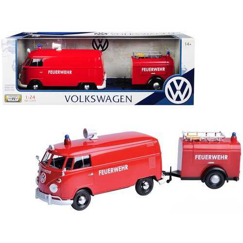 "Volkswagen Type 2 (T1) Fire Van with Fire Fighting Trailer ""Feuerwehr"" Red 1/24 Diecast Model Car by Motormax"