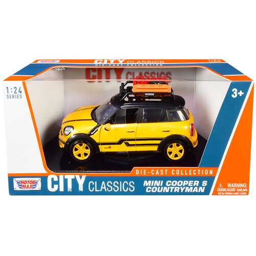 """Mini Cooper S Countryman with Roof Rack and Accessories Yellow Metallic and Black """"City Classics"""" Series 1/24 Diecast Model Car by Motormax"""