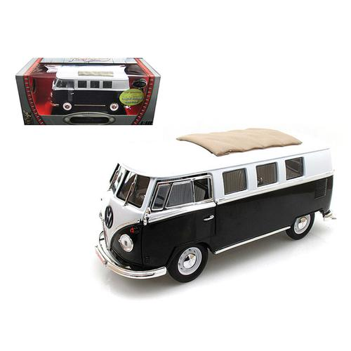 1962 Volkswagen Microbus Black with Sliding Fabric Sunroof Limited Edition to 600pc 1/18 Diecast Model by Road Signature