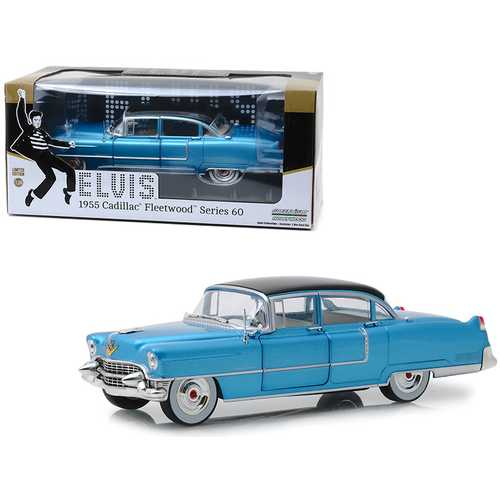 "1955 Cadillac Fleetwood Series 60 ""Blue Cadillac"" Elvis Presley (1935-1977) 1/24 Diecast Model Car by Greenlight"