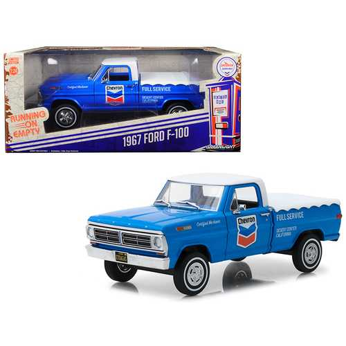 """1967 Ford F-100 with Bed Cover """"Chevron Full Service"""" Blue with White Top Running on Empty Series 1/24 Diecast Model Car by Greenlight"""
