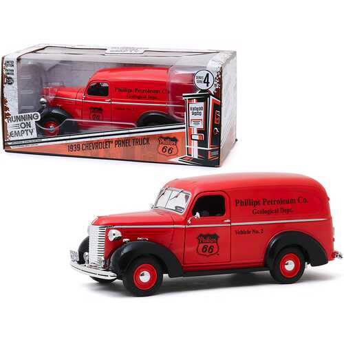 """1939 Chevrolet Panel Truck Red """"Phillips 66"""" (Phillips Petroleum Co. Geological Dept.) """"Running on Empty"""" Series 4 1/24 Diecast Model Car by Greenlight"""