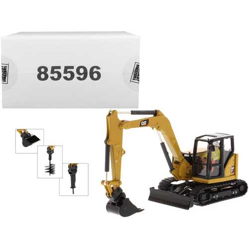 "CAT Caterpillar 308 CR Next Generation Mini Hydraulic Excavator with Work Tools and Operator ""High Line"" Series 1/50 Diecast Model by Diecast Masters"