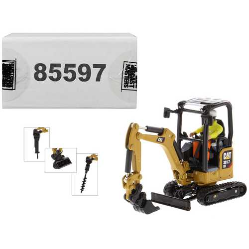 "CAT Caterpillar 301.7 CR Next Generation Mini Hydraulic Excavator with Work Tools and Operator ""High Line"" Series 1/50 Diecast Model by Diecast Masters"