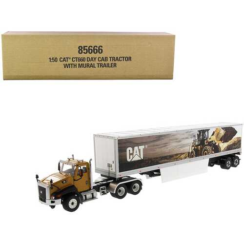 """CAT Caterpillar CT660 Day Cab with Caterpillar Mural Dry Van Trailer """"Transport Series"""" 1/50 Diecast Model by Diecast Masters"""