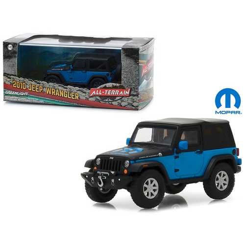 "2010 Jeep Wrangler ""The General"" Mopar Blue and Black in Display Showcase 1/43 Diecast Model Car by Greenlight"