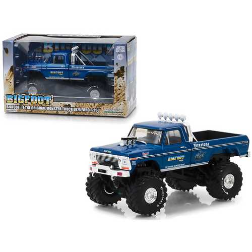 "1974 Ford F-250 Monster Truck Bigfoot #1 ""The Original Monster Truck"" Blue 1/43 Diecast Model Car by Greenlight"