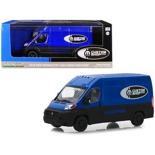 """2018 RAM ProMaster 2500 Cargo Van High Roof Blue and Black """"MOPAR Custom Shop"""" 1/43 Diecast Model Car by Greenlight"""