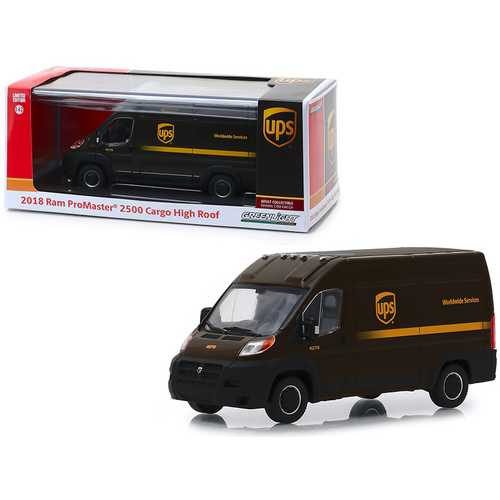 """2018 RAM ProMaster 2500 Cargo High Roof """"United Parcel Service"""" (UPS) """"Worldwide Services"""" Dark Brown 1/43 Diecast Model Car by Greenlight"""