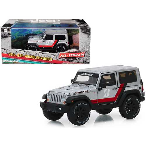 "2014 Jeep Wrangler Rubicon ""Bridgestone Racing"" Silver Metallic ""All-Terrain"" Series 1/43 Diecast Model Car by Greenlight"