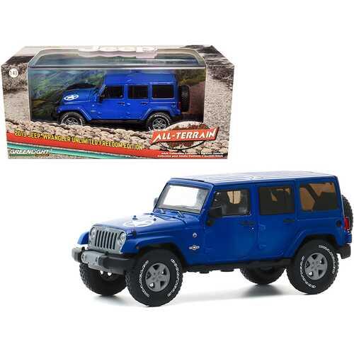 "2013 Jeep Wrangler Unlimited Freedom Edition True Blue ""All-Terrain"" Series 1/43 Diecast Model Car by Greenlight"