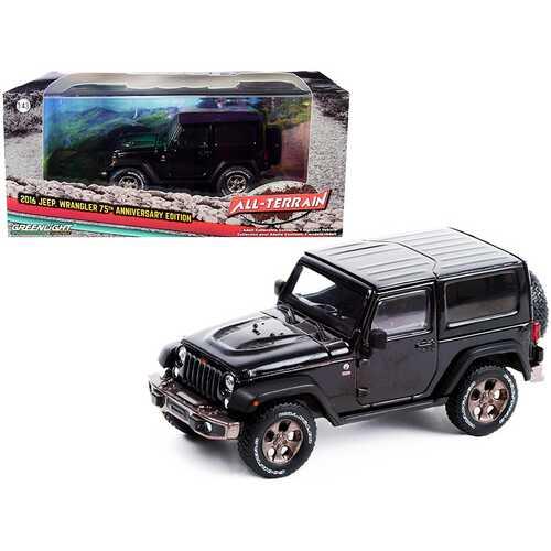 "2016 Jeep Wrangler Black ""75th Anniversary Edition"" ""All-Terrain"" Series 1/43 Diecast Model Car by Greenlight"