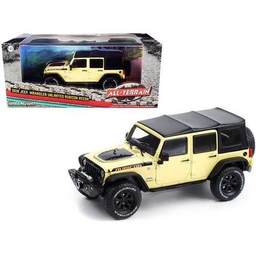 """2018 Jeep Wrangler Unlimited Rubicon Recon with Off-Road Parts Gobi Yellow with Black Top """"All-Terrain"""" Series 1/43 Diecast Model Car by Greenlight"""