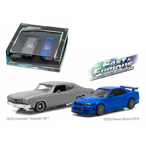 "1970 Chevrolet Chevelle SS Grey and 2002 Nissan Skyline GT-R Blue Drag Scene ""Fast and Furious"" Movie (2009) Diorama Set 1/43 Diecast Model Cars by Greenlight"