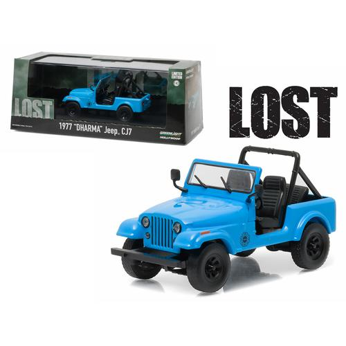 "1977 ""Dharma"" Jeep CJ7 Blue ""Lost"" TV Series (2004-2010) 1/43 Diecast Model Car  by Greenlight"