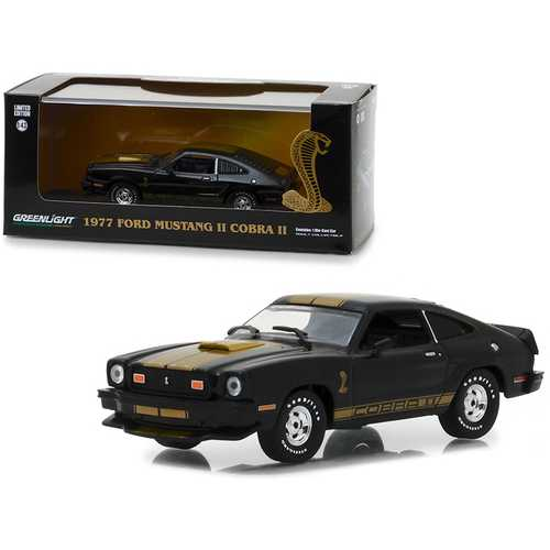 1977 Ford Mustang Cobra II Black with Gold Stripes 1/43 Diecast Model Car by Greenlight