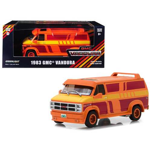 1983 GMC Vandura Custom Orange with Custom Graphics 1/43 Diecast Model Car by Greenlight