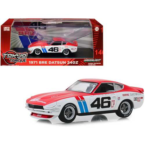 "1971 Datsun 240Z #46 John Morton ""Brock Racing Enterprises"" (BRE) ""Tokyo Torque"" Series 1/43 Diecast Model Car by Greenlight"