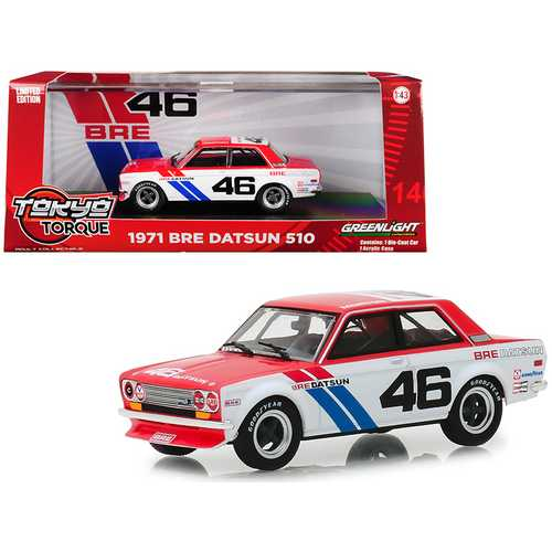 "1971 Datsun 510 #46 John Morton ""Brock Racing Enterprises"" (BRE) ""Tokyo Torque"" Series 1/43 Diecast Model Car by Greenlight"