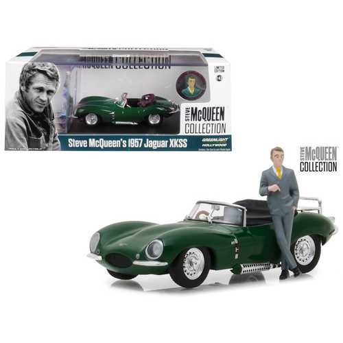 1957 Jaguar XKSS Convertible Green with Figurine 1/43 Diecast Model Car by Greenlight