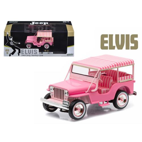 "1960 Jeep Surrey CJ3B ""Pink Jeep"" Elvis Presley (1935-1977) 1/43 Diecast Model Car  by Greenlight"