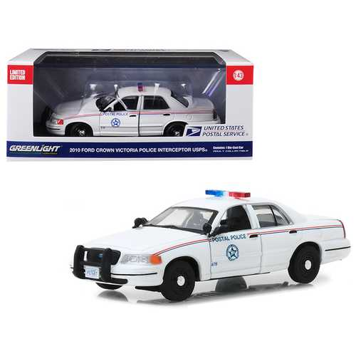 2010 Ford Crown Victoria Postal Police United States Postal Service (USPS) White 1/43 Diecast Model Car by Greenlight