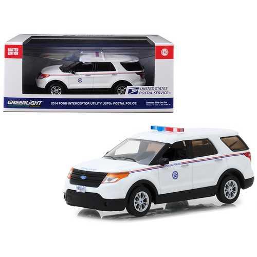 2014 Ford Interceptor Utility Postal Police United States Postal Service (USPS) White 1/43 Diecast Model Car by Greenlight