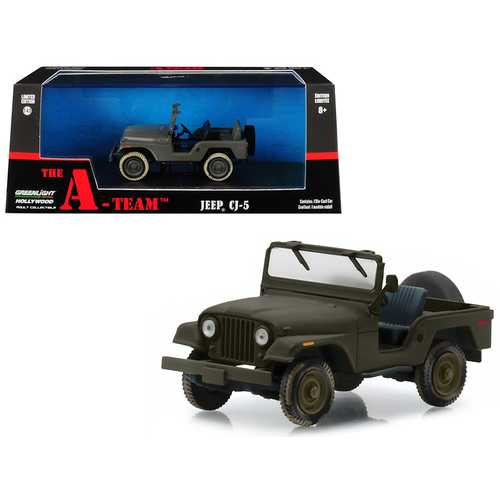 "Jeep CJ-5 Army Green ""The A-Team"" (1983-1987) TV Series 1/43 Diecast Model Car  by Greenlight"