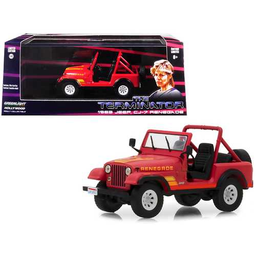 """1983 Jeep CJ-7 Renegade Red (Sarah Connor's) """"The Terminator"""" (1984) Movie 1/43 Diecast Model Car  by Greenlight"""