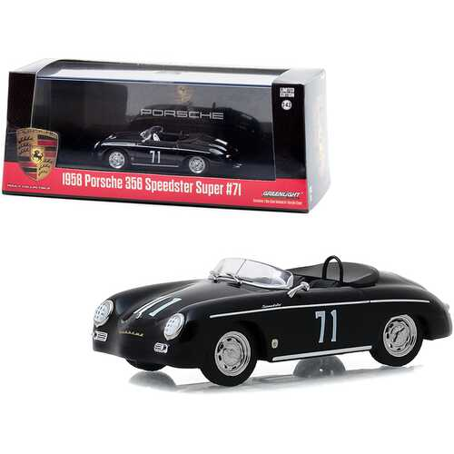 1958 Porsche 356 Speedster Super #71 Race Car Black 1/43 Diecast Model Car by Greenlight