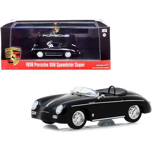 1958 Porsche 356 Speedster Super Black 1/43 Diecast Model Car by Greenlight