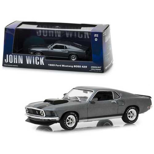 """1969 Ford Mustang BOSS 429 Gray with Black Stripes \""""John Wick\"""" (2014) Movie 1/43 Diecast Model Car by Greenlight"""