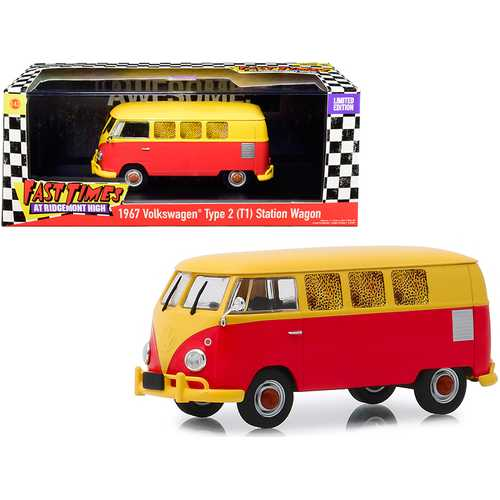 """1967 Volkswagen Type 2 (T1) Station Wagon Bus Yellow and Red """"Fast Times at Ridgemont High"""" (1982) Movie 1/43 Diecast Model by Greenlight"""