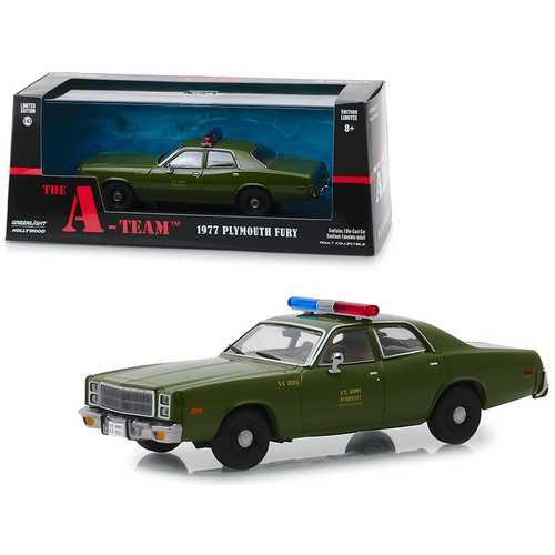 "1977 Plymouth Fury U.S. Army Police ""The A-Team"" (1983-1987) TV Series 1/43 Diecast Model Car by Greenlight"