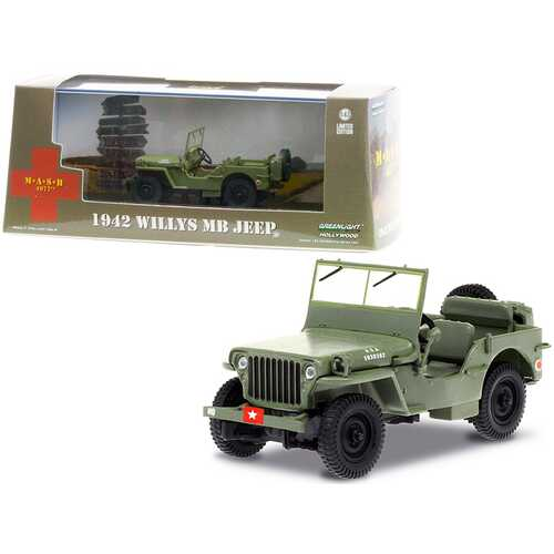 """1942 Willys MB Jeep Army Green """"MASH"""" (1972-1983) TV Series 1/43 Diecast Model Car by Greenlight"""