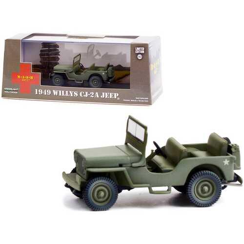 "1949 Willys CJ-2A Jeep Army Green ""MASH"" (1972-1983) TV Series 1/43 Diecast Model Car by Greenlight"