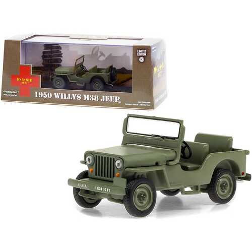 """1950 Willys M38 Jeep Army Green """"MASH"""" (1972-1983) TV Series 1/43 Diecast Model Car by Greenlight"""