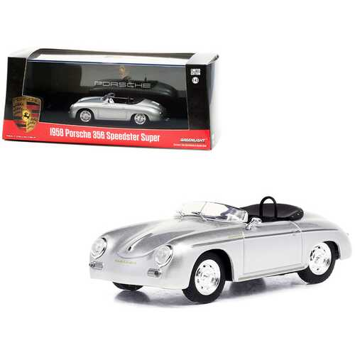 1958 Porsche 356 Speedster Super Silver Metallic 1/43 Diecast Model Car by Greenlight