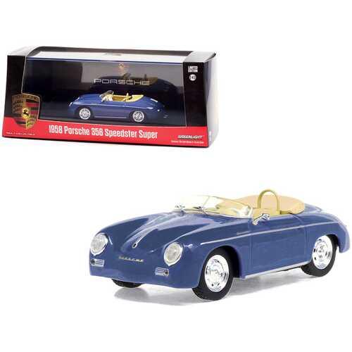 1958 Porsche 356 Speedster Super Aquamarine Blue 1/43 Diecast Model Car by Greenlight