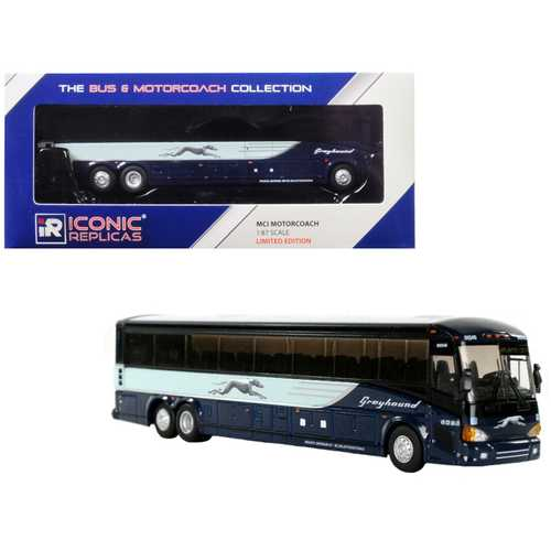 "MCI D4505 Coach Transit Bus ""Greyhound"" (Atlantic City) Blue 1/87 Diecast Model by Iconic Replicas"