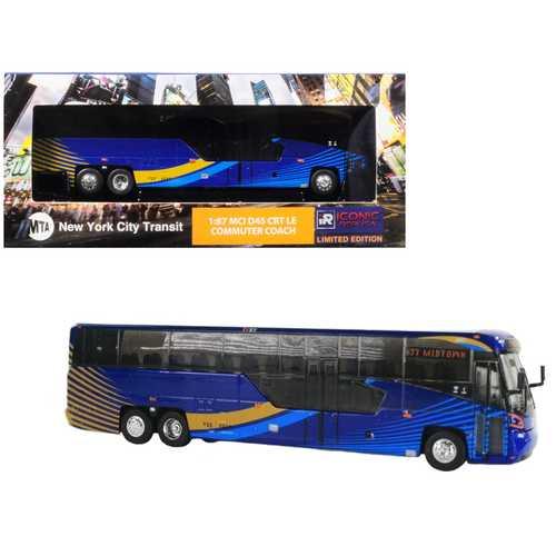 "MCI D45 CRT LE Commuter Coach Transit Bus ""x37 Midtown"" (""MTA New York City Transit"") Blue 1/87 Diecast Model by Iconic Replicas"