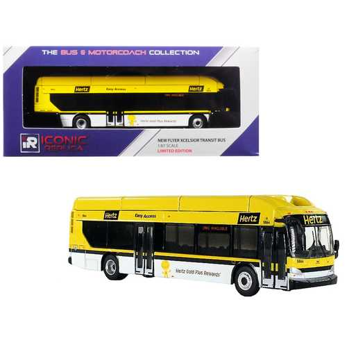 "New Flyer Xcelsior Transit Bus ""Hertz"" Car Rentals Yellow 1/87 Diecast Model by Iconic Replicas"